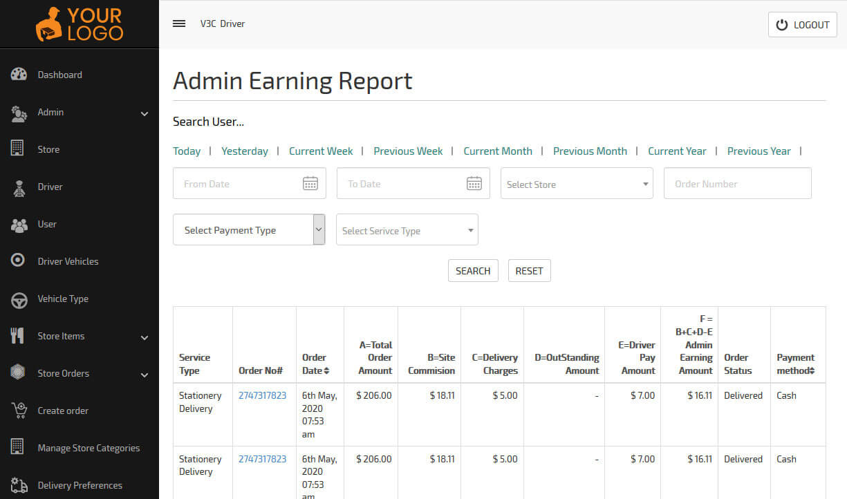 search users earning report from admin