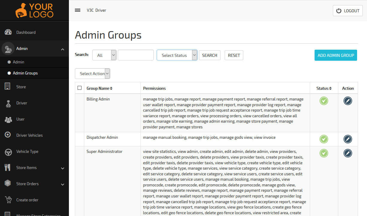 add admin groups from panel