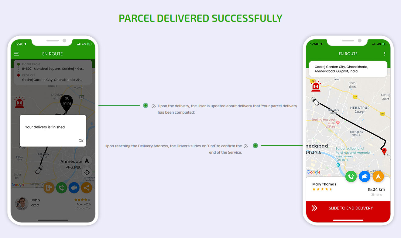 Parcel delivered successfully