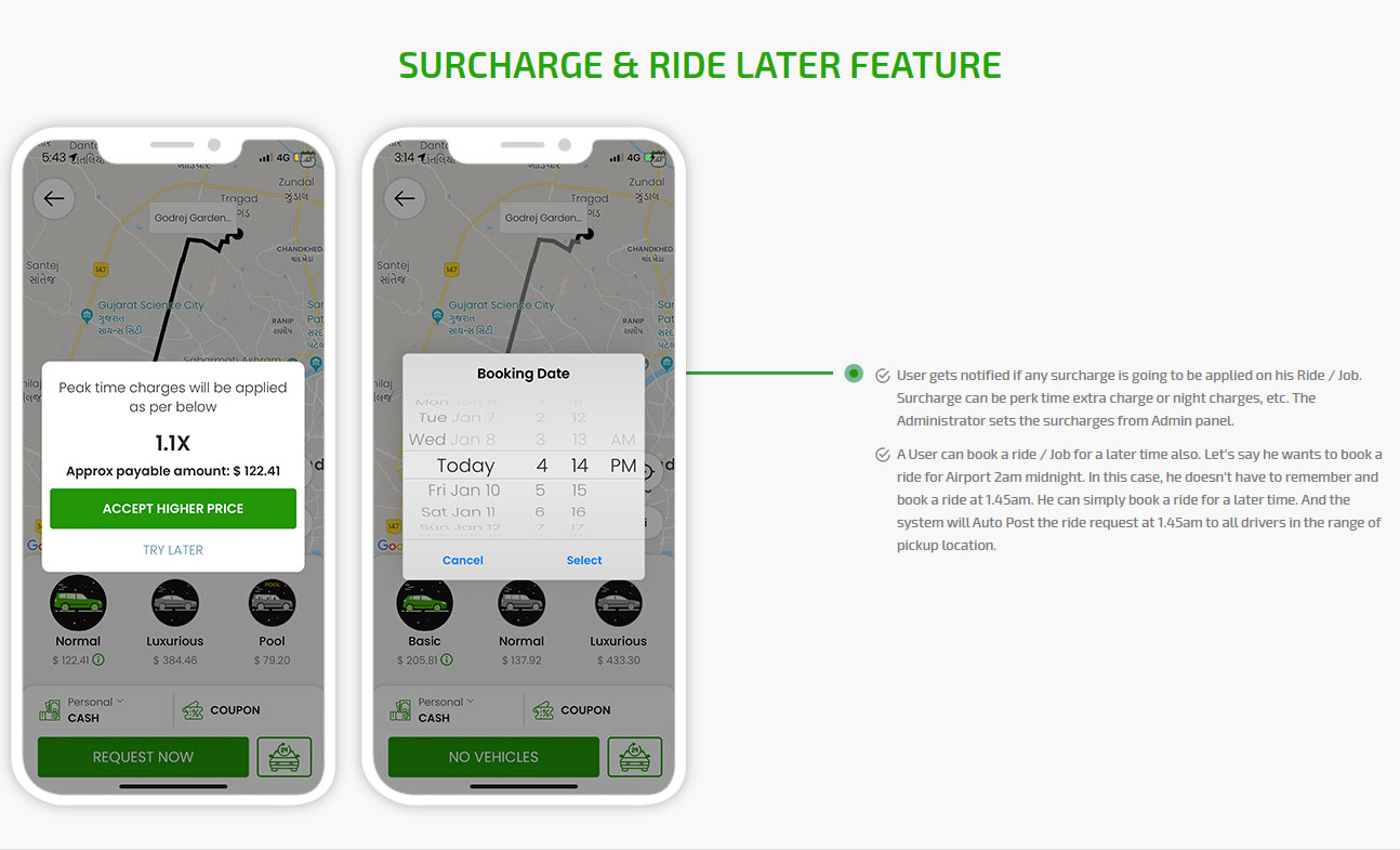 Surcharge & Ride later feature