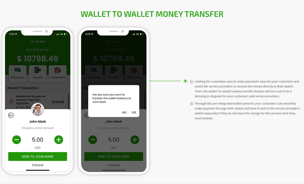 Wallet to wallet money transfer