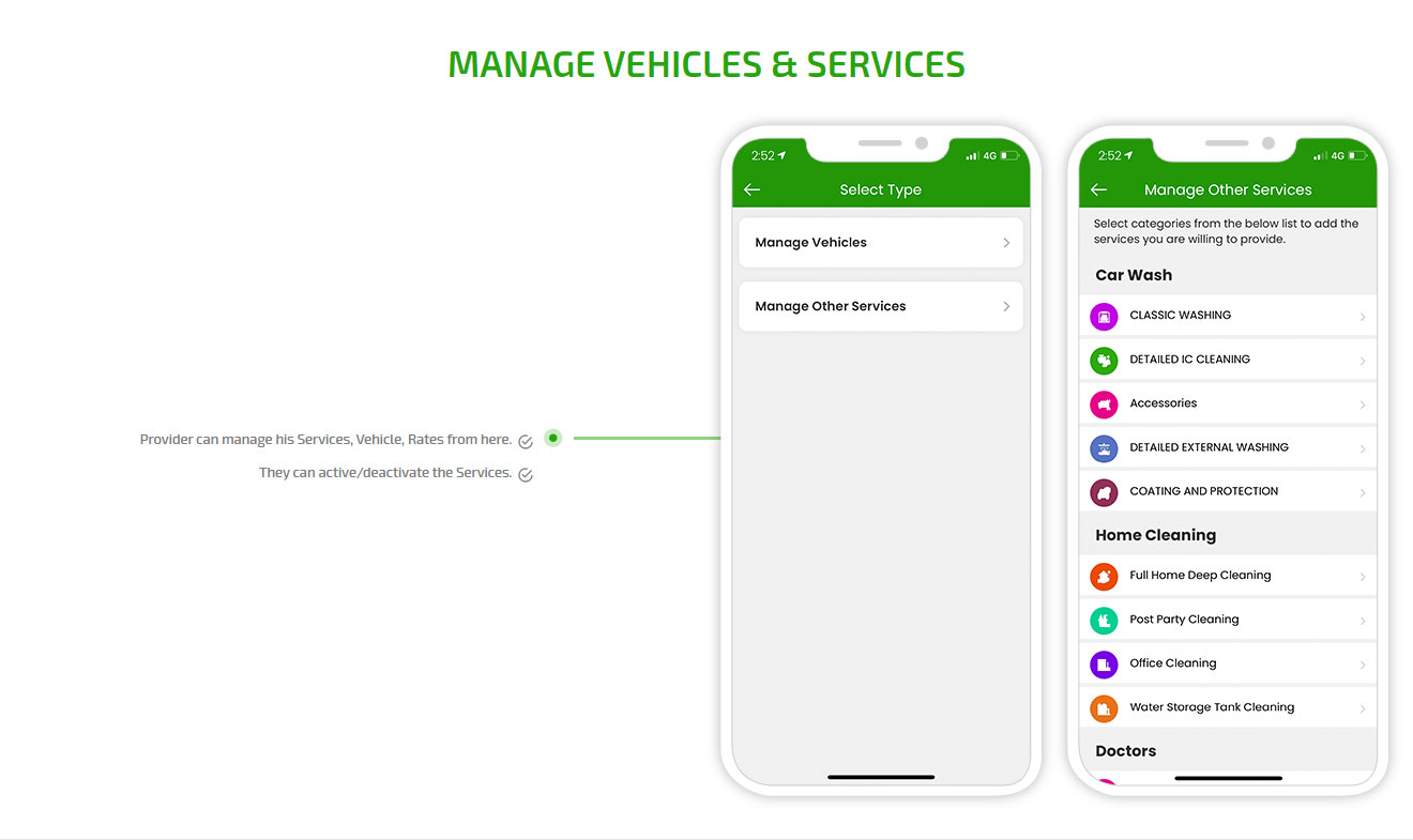 Manage Vehicles & Services