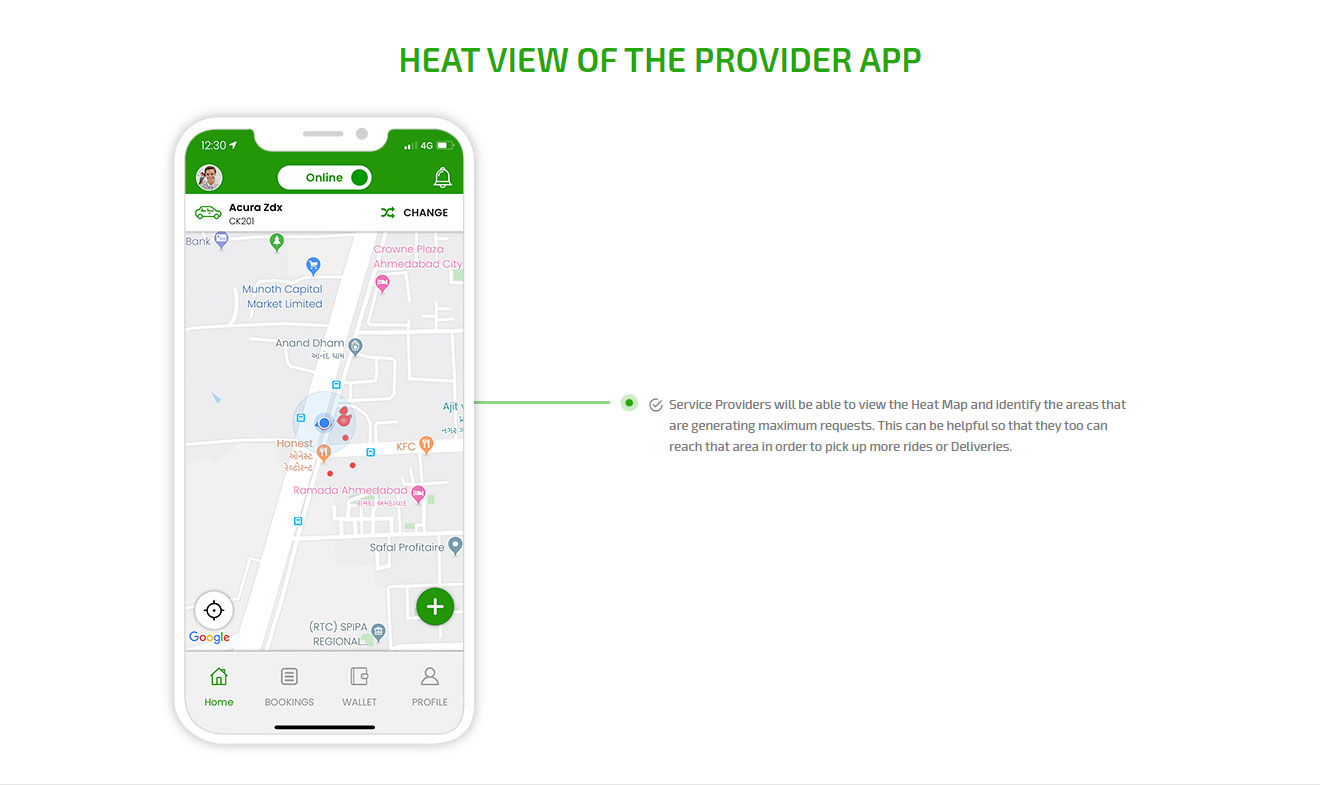 Heat view of the provider app
