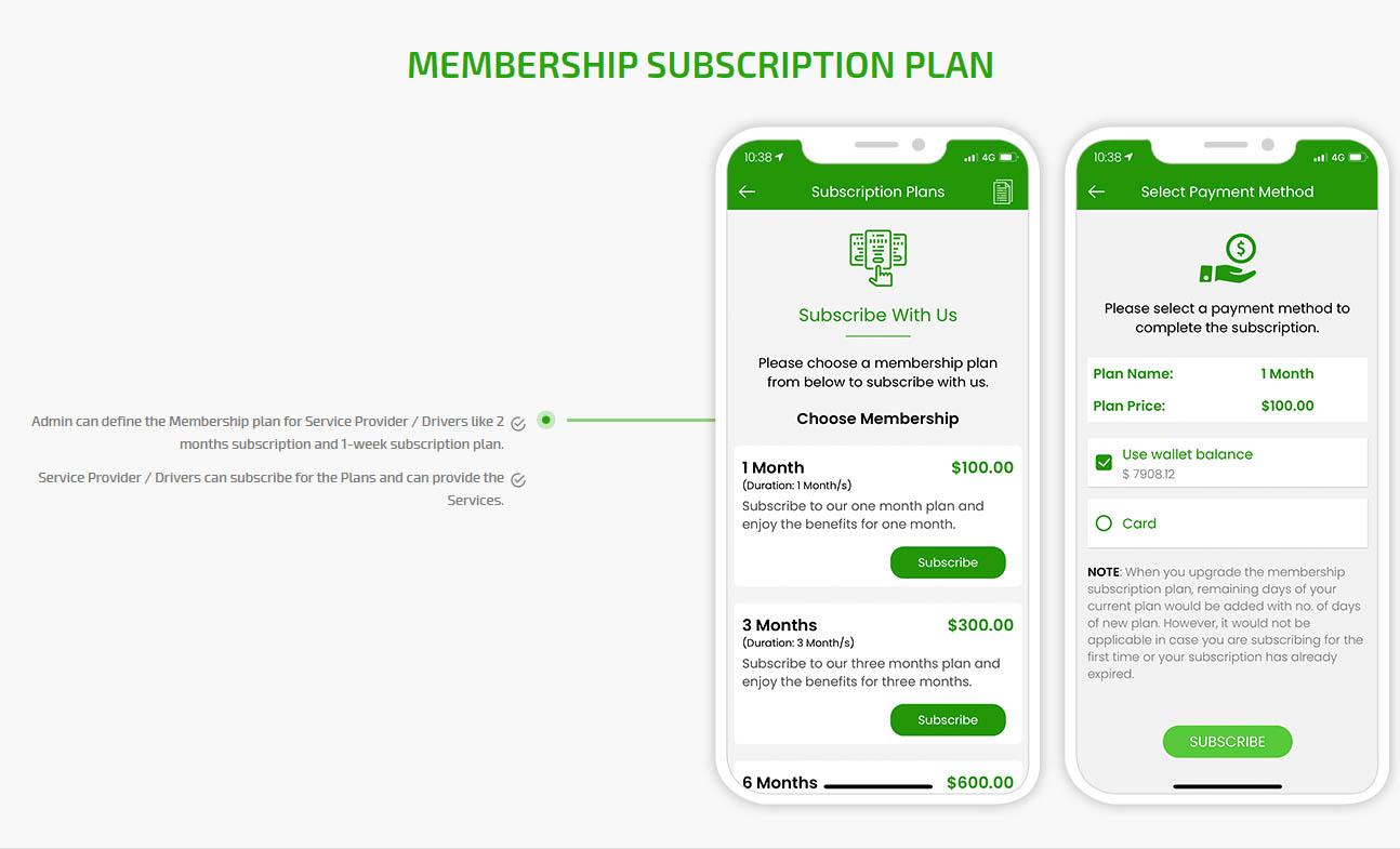 Membership subscription plans