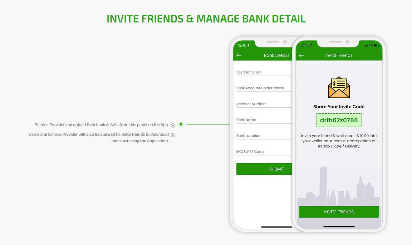 Invite friend & manage bank detail