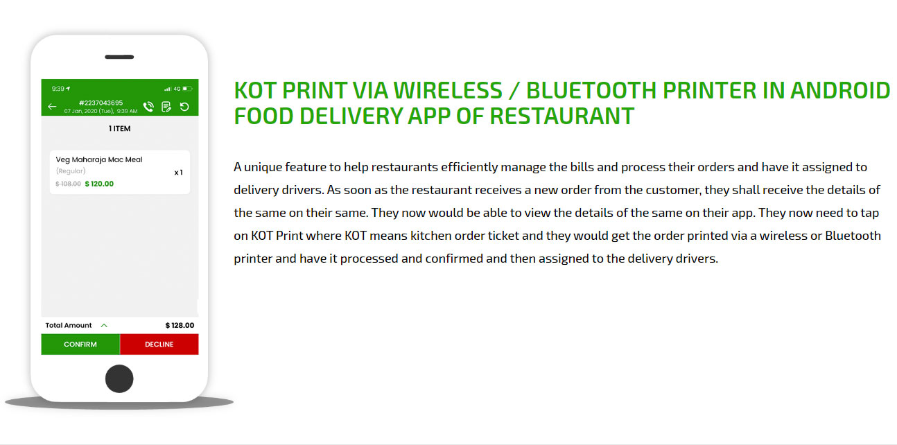 Kot print via wireless / bluetooth printer
