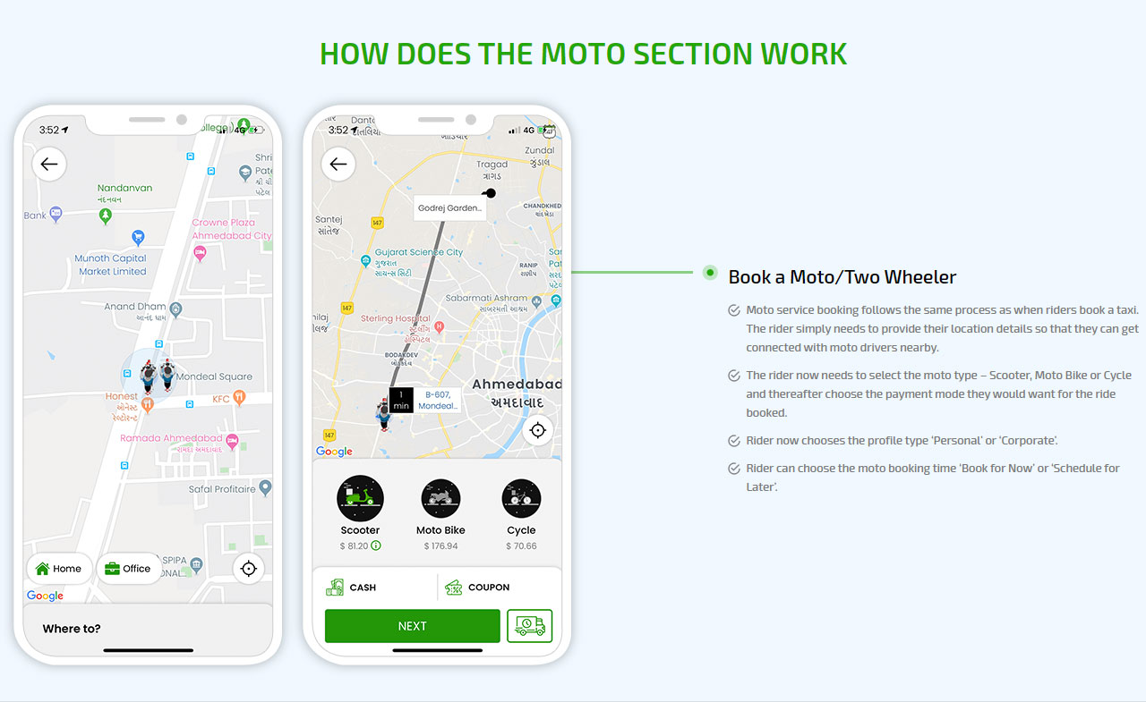 How does the moto section work