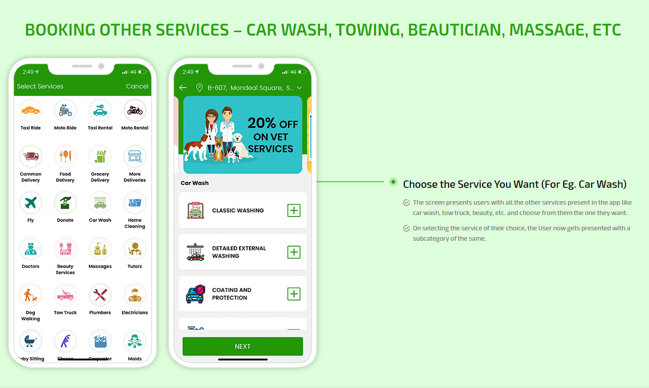 Booking other services - car wash, towing, beautician, massage, etc