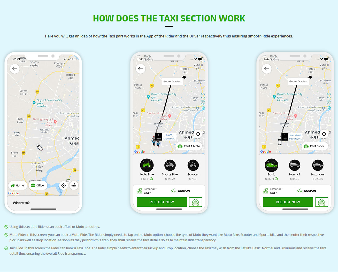 How does the taxi section work
