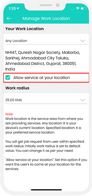 provider manage work location
