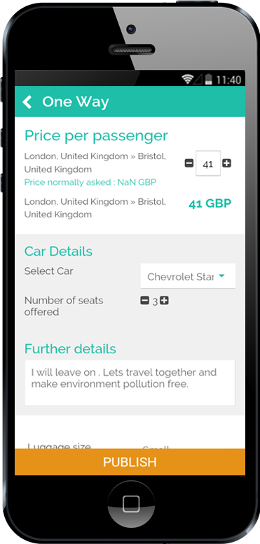 Carpooling iPhone App Round Trip Selection Screen