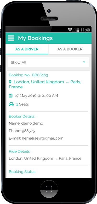 Carpooling iPhone App My Booking in Booker Details Screen