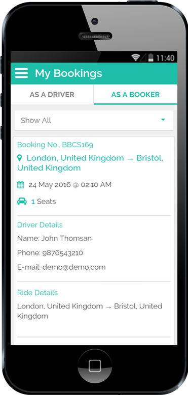 Carpooling iPhone App My Booking in Driver Details Screen