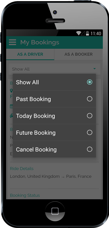 Carpooling iPhone App Open Popup and show different Category