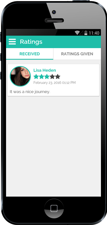Carpooling iPhone App Received Riding Ratings