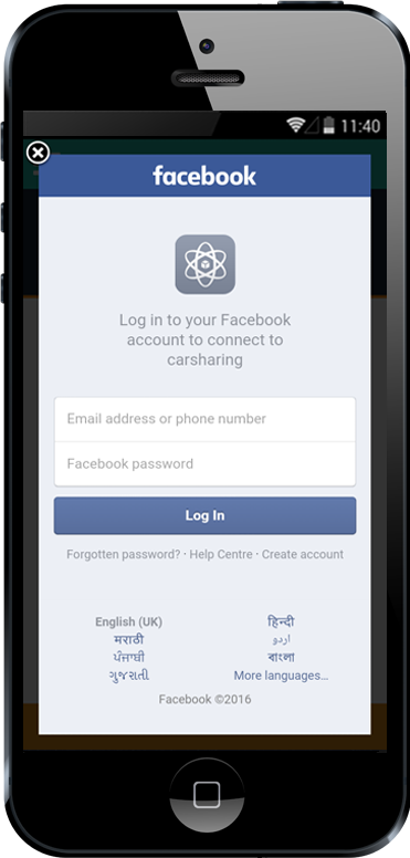 Carpooling iPhone App Facebook Login Screen