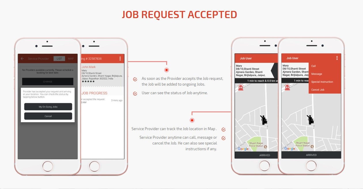 job request accepted screen