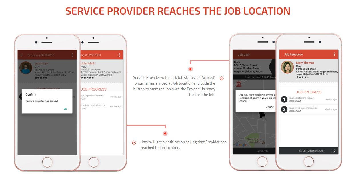 Service provider reaches at job location screen