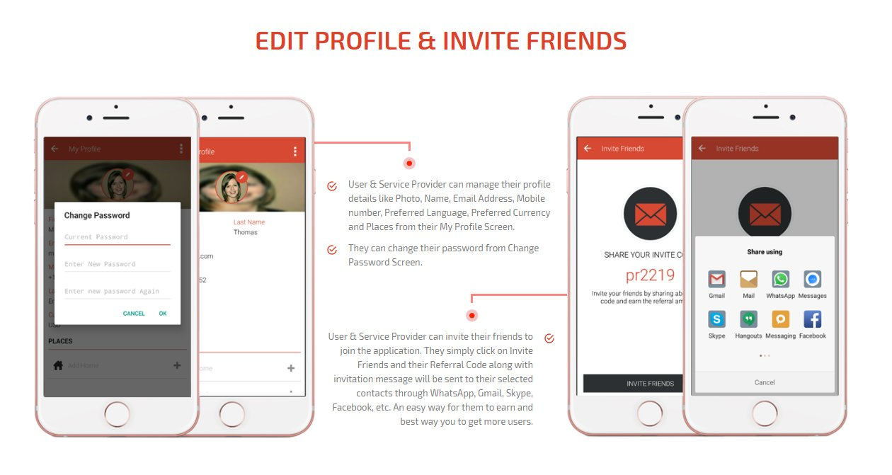 user and service provider edit profile & invite friends screen