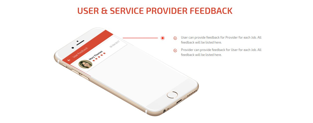 user & service provider feedback screen