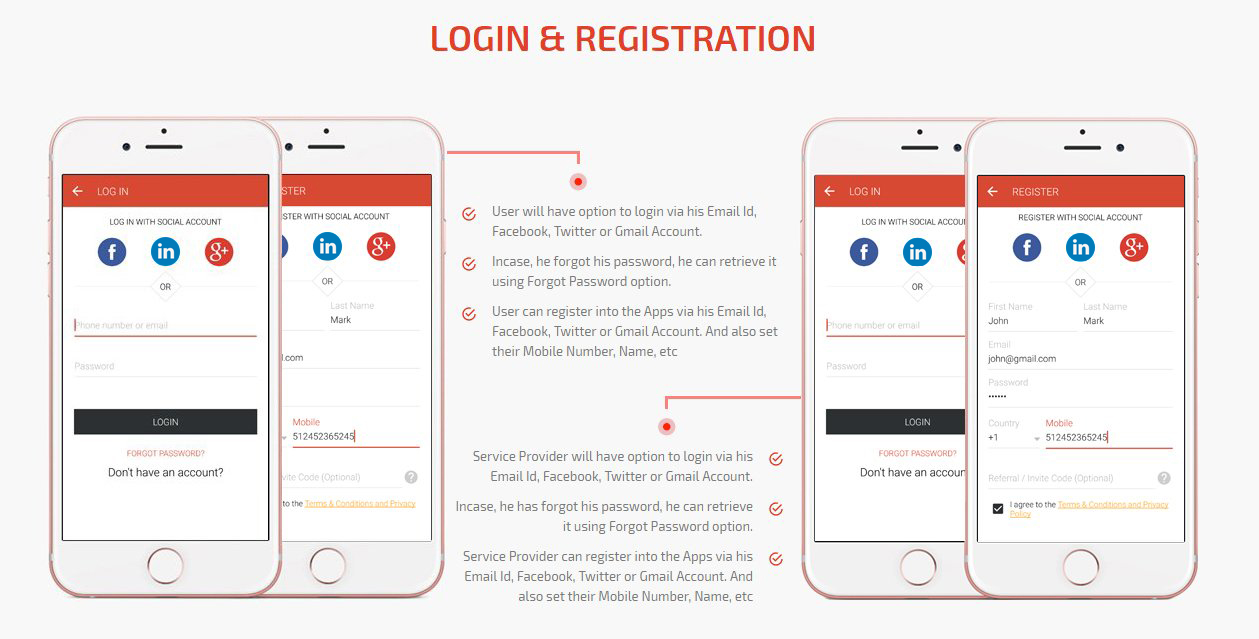 On Demand Service Apps Login & Registration Screen