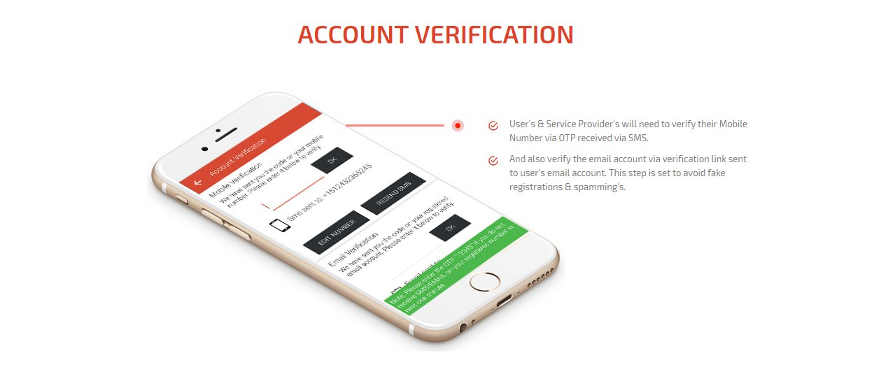 user and service provider account verification Screen