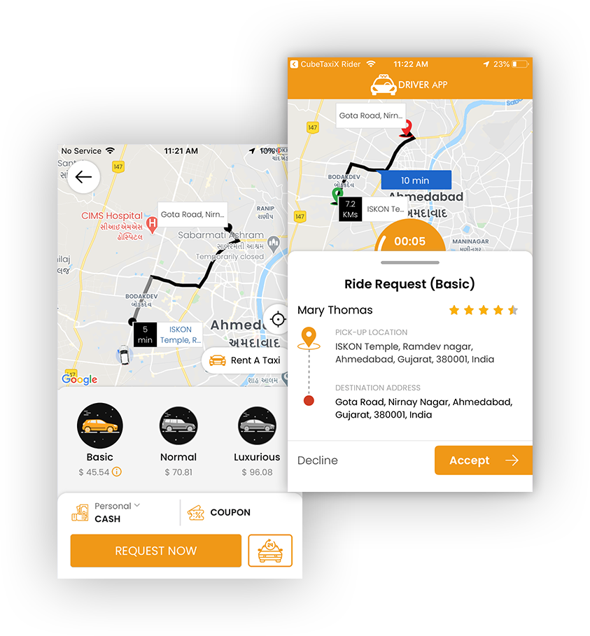 customized cab booking app