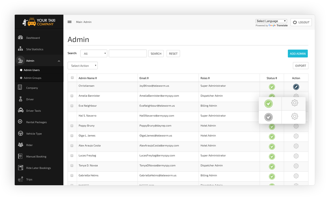 Admin Users Management Screen