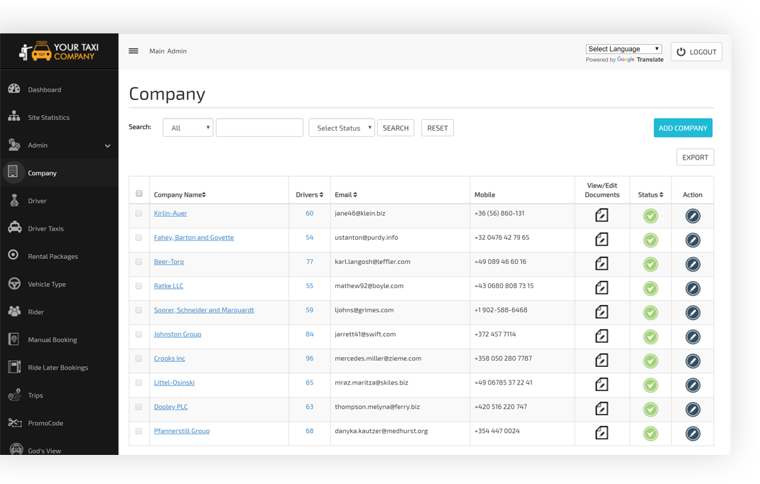 Company Management Screen