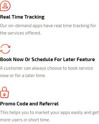 real time tracking & booking scheduling option features in app
