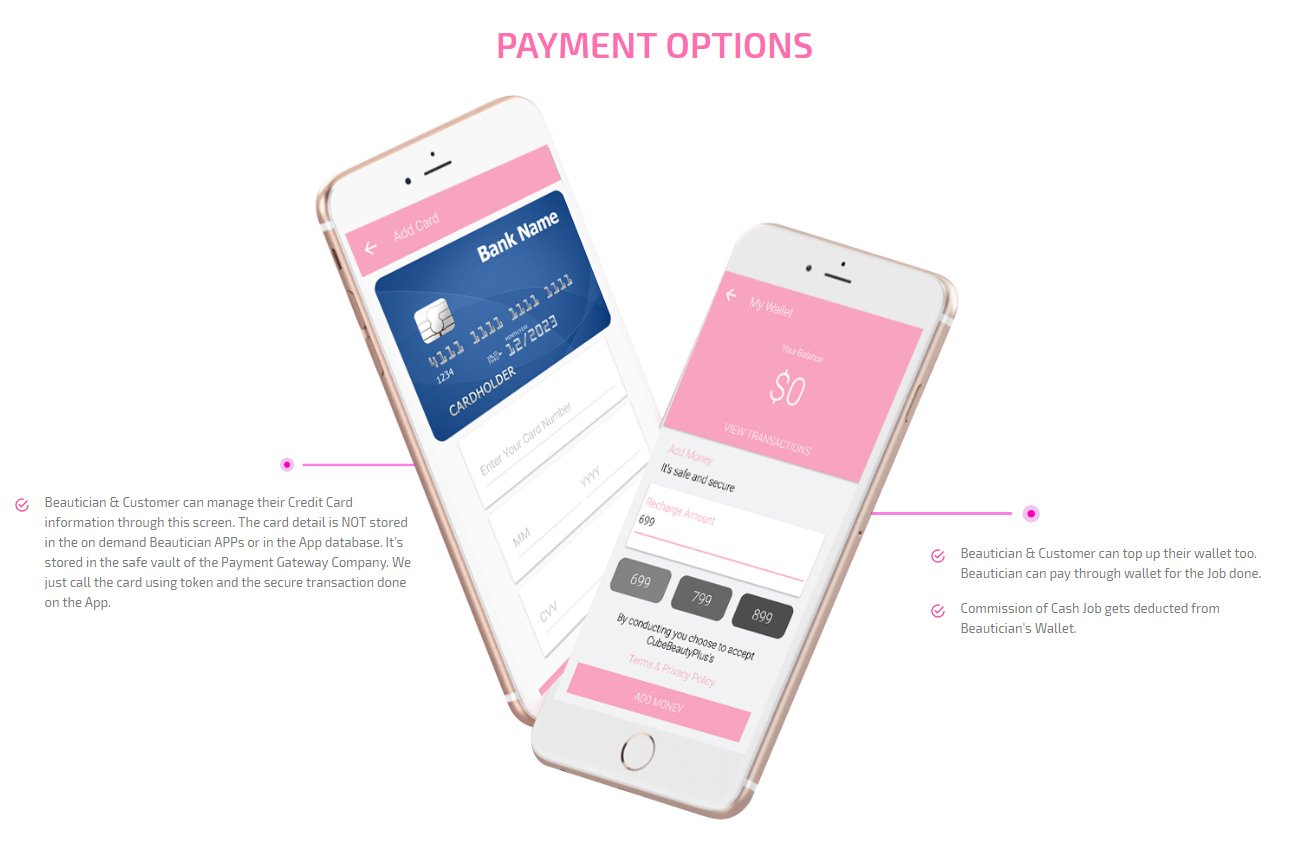customer and beautician payment option screen