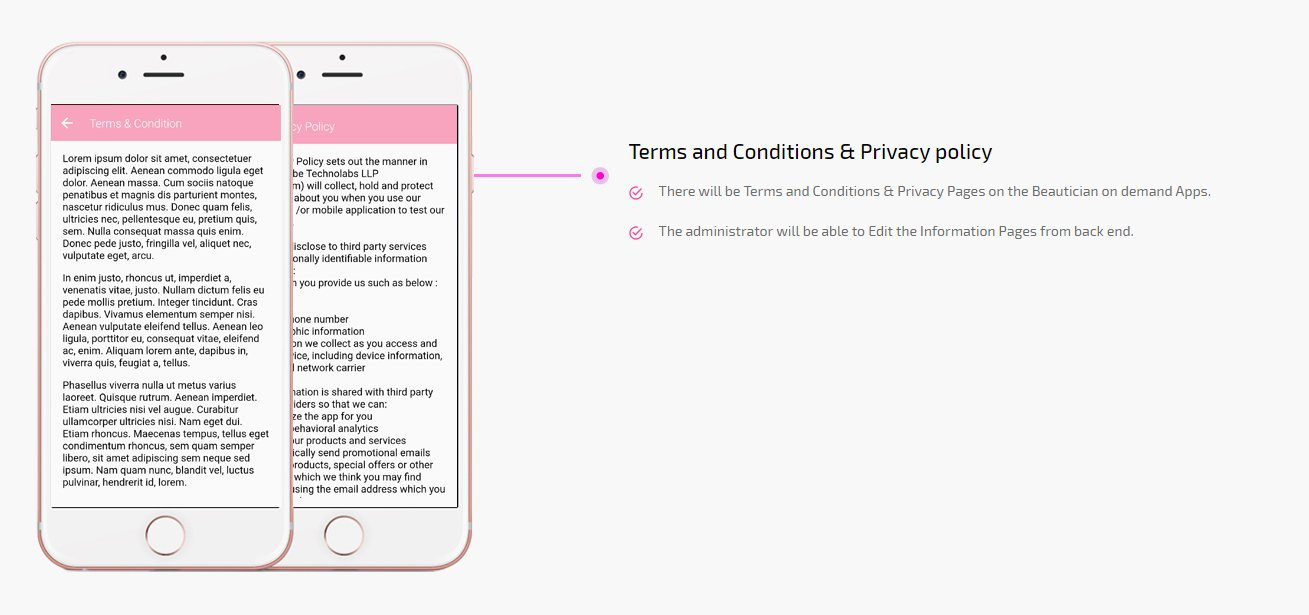 beauty on demand app terms and conditions & privacy policy screen