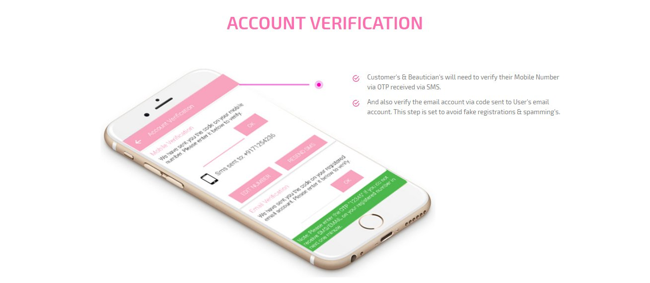 customer and beautician account verification screen
