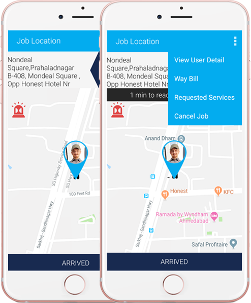 track the Job location in Map