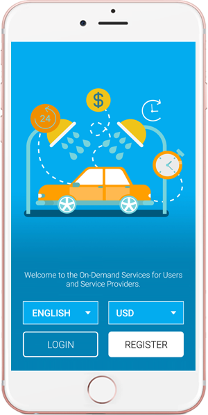 car wash man app introduction screen