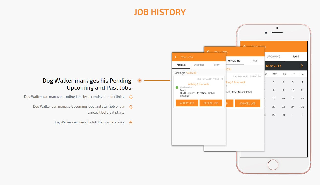 dog walker job history screen