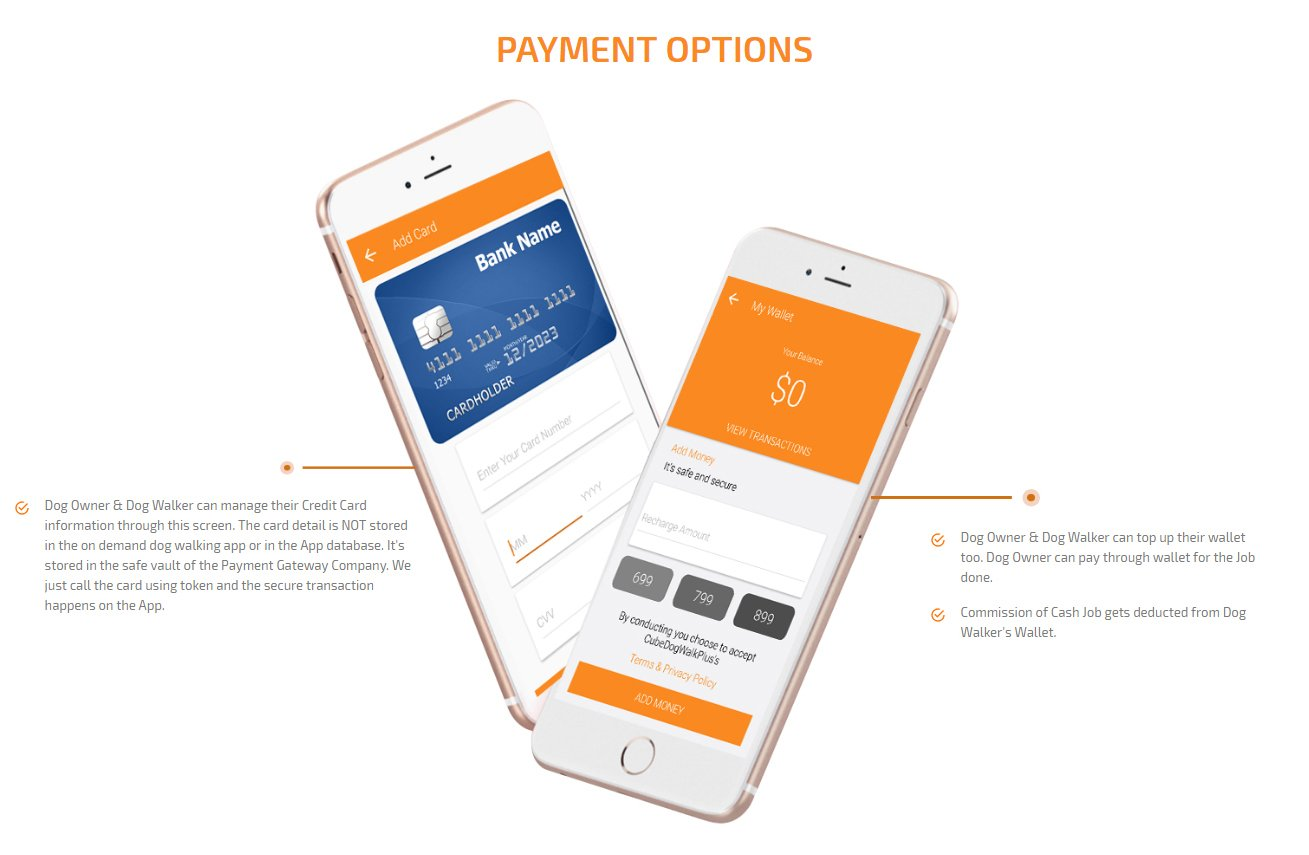 dog owner and dog walker payment option screen