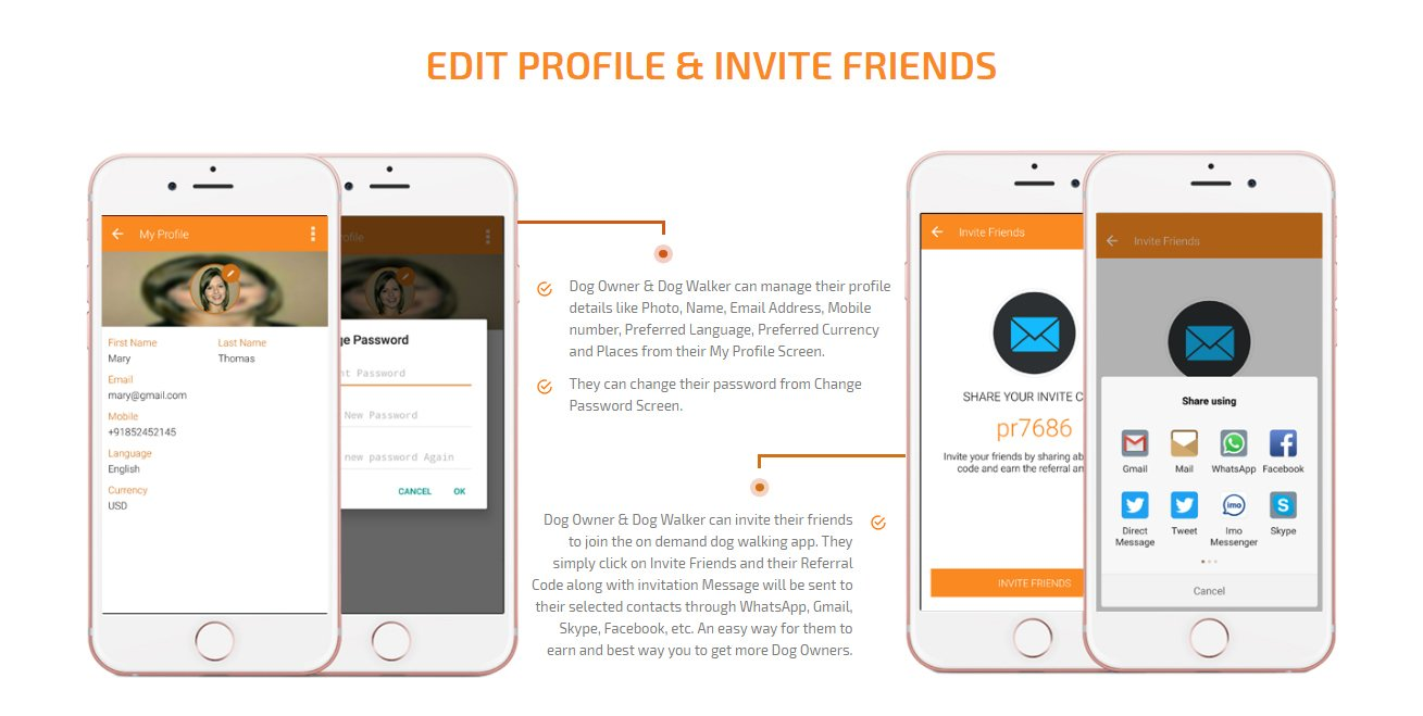 dog owner and dog walker edit profile and invite friends to join app