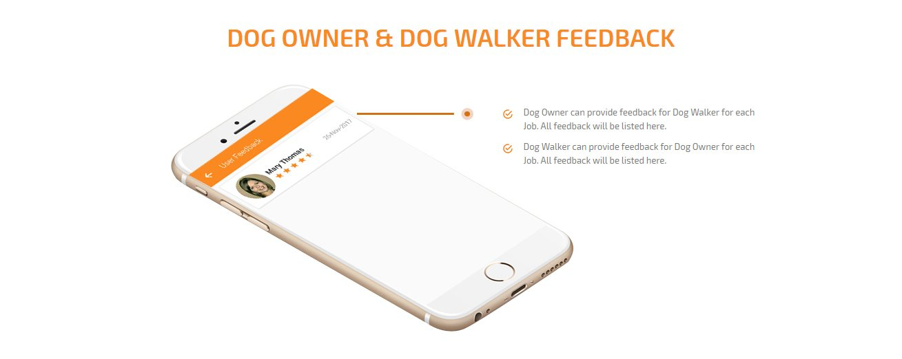 dog owner and dog walker feedback screen