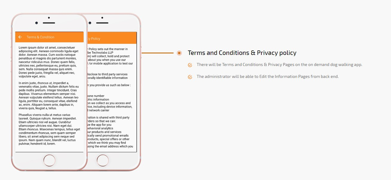 dog walking app terms and conditions & privacy policy screen