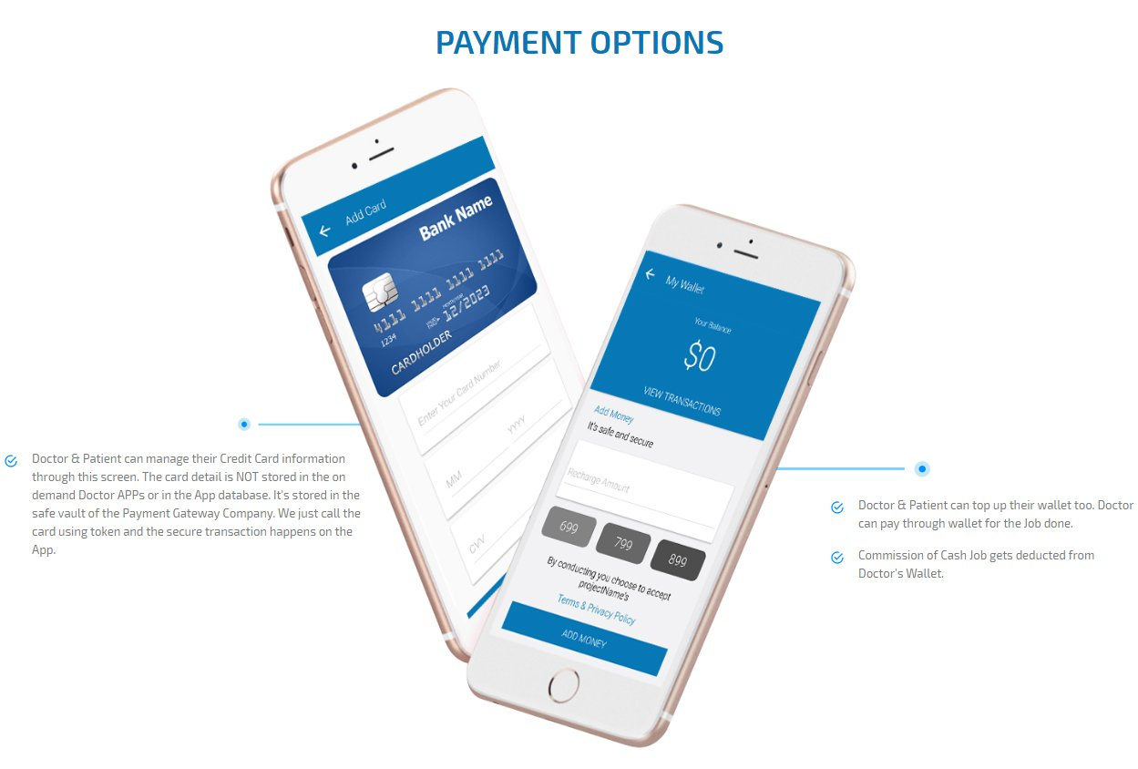 patient and physiotherapist app payment option screen