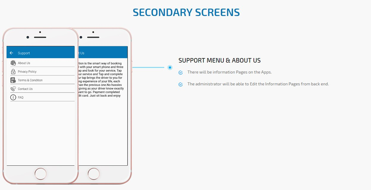 on demand physio app support menu & about us screen