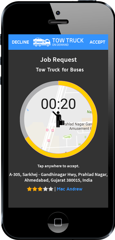 tow truck app driver accept or reject screen