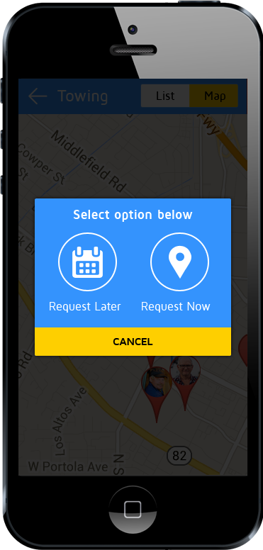 tow truck app booking scheduling screen