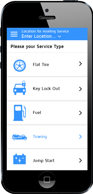 tow truck app category selection screen