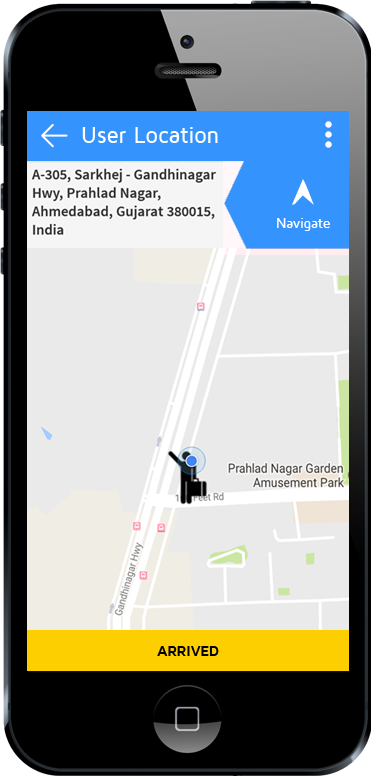 tow truck app driver arrived user location screen