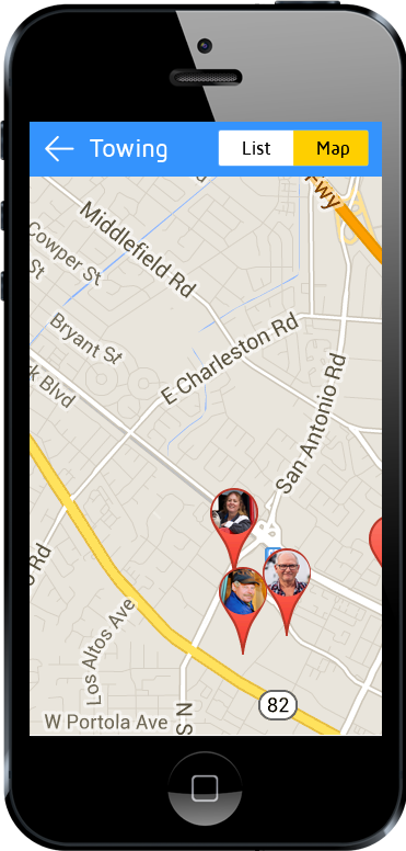 tow truck app map view screen