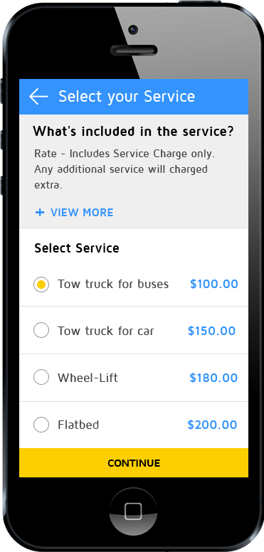 tow truck app sub category screen