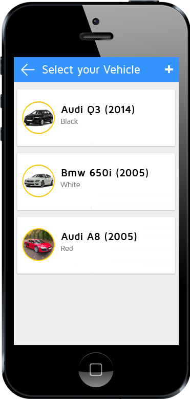 tow truck app vehicle selection screen