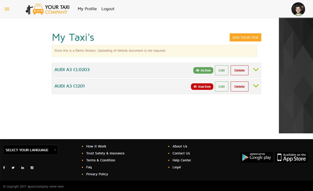 Driver Panel My Taxi, Manage Your Vehicle Screen